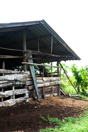 outbuilding: Old gray wooden animal Rearing house in upcountry