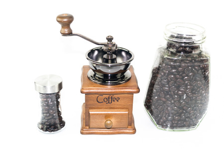 coffee blender: coffee blender spinner with coffee bean in glass jar and bottle