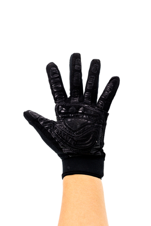 Black Leather sportwear glove isolated on white background