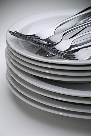 Blanco y placas de plata  Foto de archivo