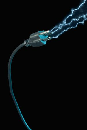 Blue electric sparks coming from a power plug on a black background
