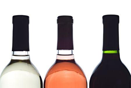 3 baclit wine bottles Stock Photo