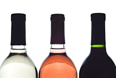 3 baclit wine bottles Stock Photo
