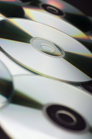 A closeup of CDs
