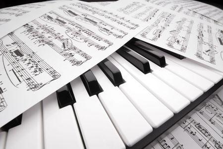 Wide angle closeup of sheet music on a piano keyboard