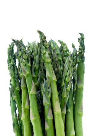 Fresh asparagus on a white background with shallow focus Imagens
