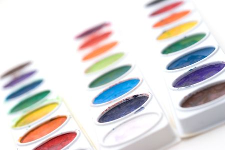 Shallow focus closeup of a child's paint trays Stock Photo - 2814464