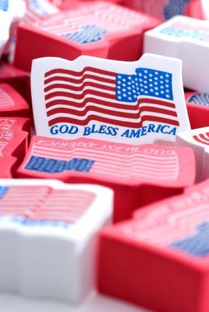 Closeup of foam American flags