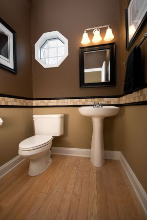 latrine: A wideangle vertical image of a nathroom