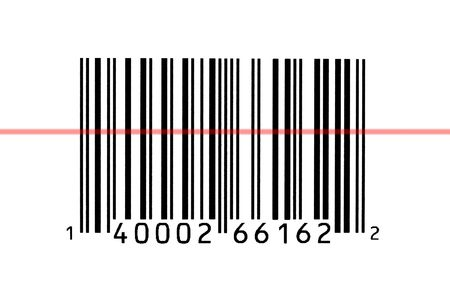 Macro photograph of a bar code being read