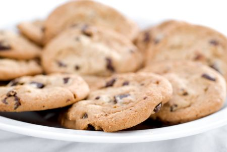 A closeup of chocolate chip cookies