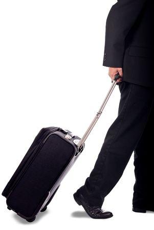 Hombre de negocios con poca tracci�n de atr�s del equipaje  Foto de archivo