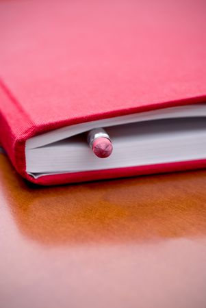 dayplanner: Book with pencil inside Stock Photo