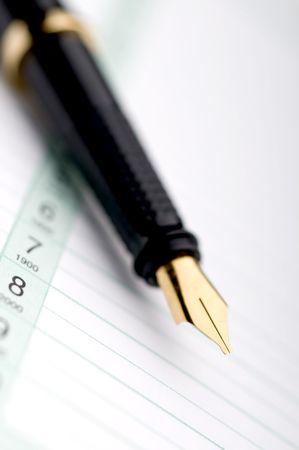 ビジネス手帳の万年筆のマクロ