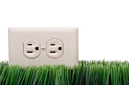 Power outlet on grass Stock Photo