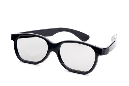 bifocals: Black eye-glasses with tinted lenses on a white background Stock Photo