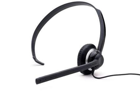 Wired telephone headset on a white background Banco de Imagens
