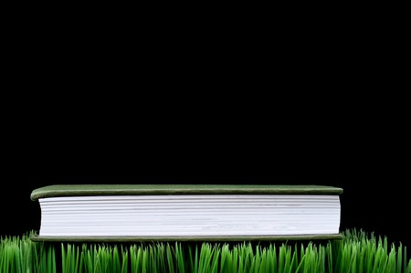 fescue: Green hardcover book sitting on grass with a black background and space for copy