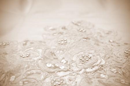 Sepia Toned Close-up of wedding dress details