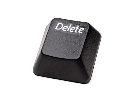 """Eine horizontale Gro�ansicht einer Schaltfl�che """"L�schen"""" aus einer Computer-Tastatur auf wei�"""