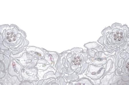 Close-up of wedding dress details