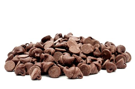 A horizontal images of a pile of chocolate chips Stock Photo