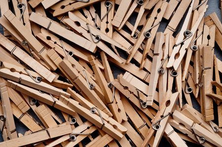 clothespegs: a closeup of a group of clothes pegs