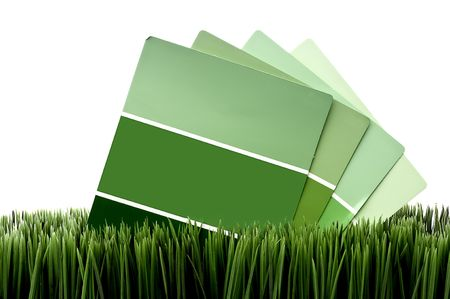 Horizontal image of green paint chip samples on green grass with a white background
