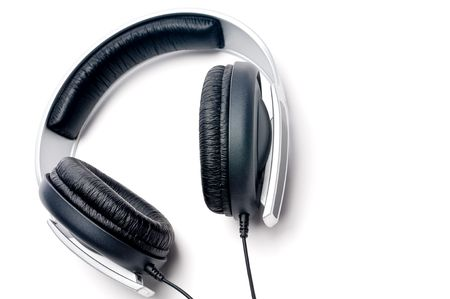 padding: Tilted horizontal image of silver colored headphones with black leather padding