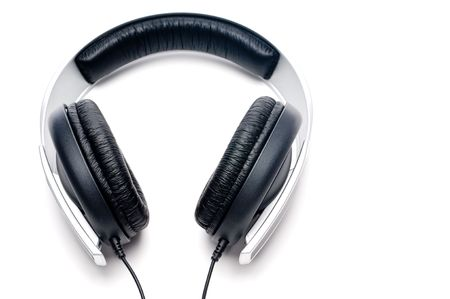 padding: Horizontal image of silver colored headphones with black leather padding