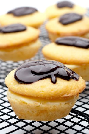 vertical shallow focus close-up of a Boston Cream Pie Cupcake Stock Photo - 5262435
