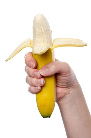 bannana: Vertical womans hand holding a bannana on white Stock Photo