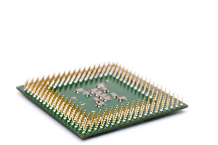 가로 얕은 초점 컴퓨터 CPU 칩을 가까이 스톡 콘텐츠