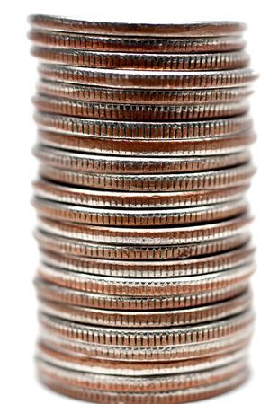 A vertical shallow focus macro of a stack of quarters Stock fotó