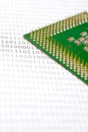 Computer CPU chip on binary code Banco de Imagens