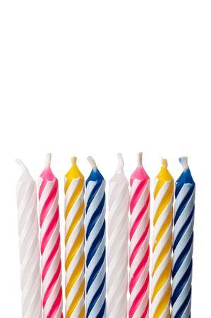 Vertical close up of birthday candles on white 版權商用圖片