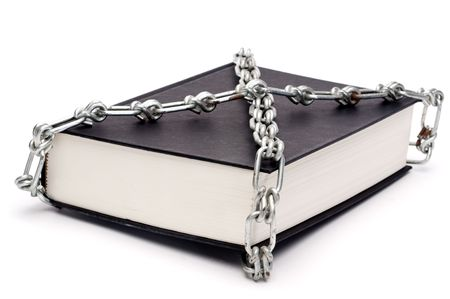 Horizontal book chained in censorship