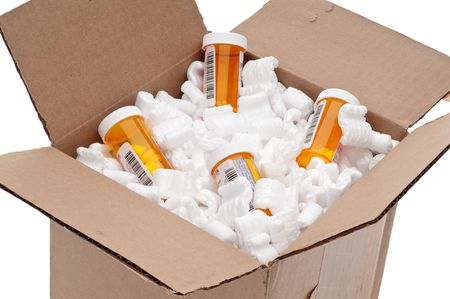 Shipping box of imported prescription medication Stock Photo