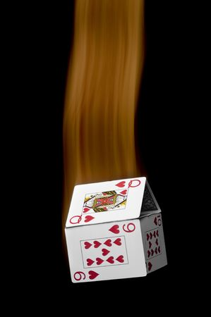ein fallender Kartenhaus