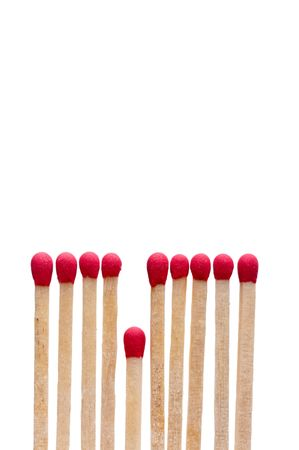 Vertical image of matches on white - the short straw