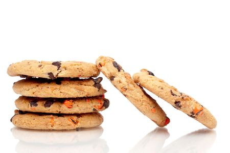 A vertical stack of chocolate chip cookies with 2 resting on the side Stock Photo - 5575797