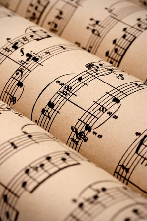 sheet music:  Rolls of sheet music (public domain)