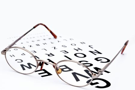 Horizontal image of eyeglasses on a eye exam chart