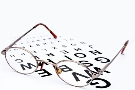 bifocals: Horizontal image of eyeglasses on a eye exam chart