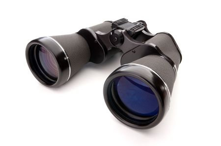 Wide angle close up of binoculars on a white background Stock Photo