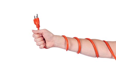 An arm wrapped in an orange electrical extension cord Фото со стока