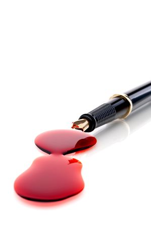 Close up of a pen and blood  Stock Photo