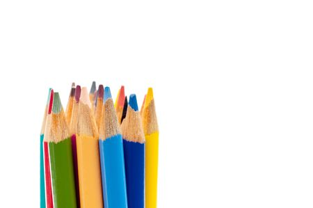 Horizontal close up of colored pencils on white Stock Photo - 5964243