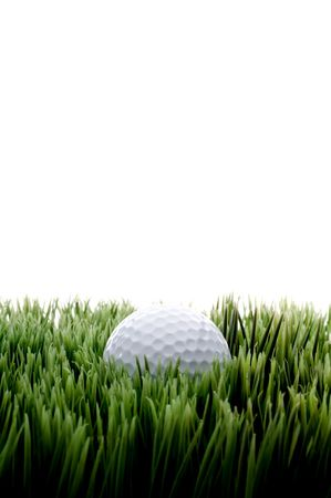 Vertical image of a white golfball on green grass