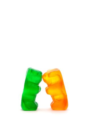 chewy: Two chewy candy bears kissing Stock Photo